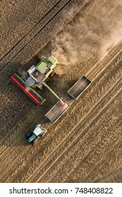 Otmuchow, Poland - August 09, 2017: aerial view of the combine on harvest field in Poland.
