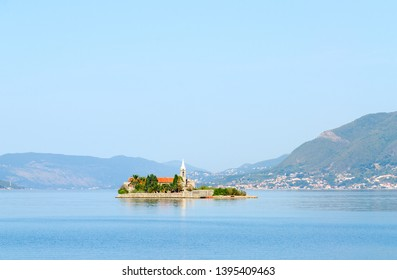 Otok Island (Gospa od Milo) with Jesuit monastery and church of the Blessed Virgin, Tivat Bay, Montenegro