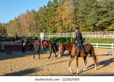 OTOMIN, POLAND - October 14, 2018: Teenage girls riding horses in autumn countryside.