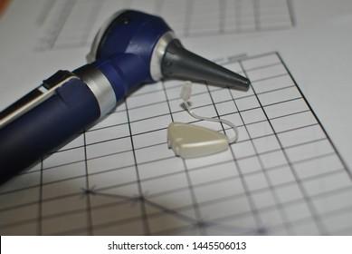 Otoscope audiogram hearing loss otorhinolaryngologist setting up the hearing aid