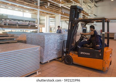 "Otradnoe of Leningrad region, Russia - February 14, 2017: The plant ""Geser""  produces marine equipment. Manufacture and assembly of metallic sandwich panels for ships"
