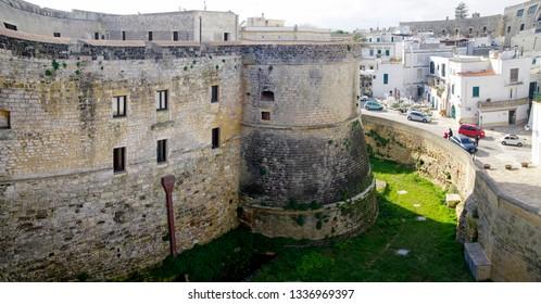 OTRANTO, APULIA ,ITALY - MARCH 30, 2018: A superb view of Otranto city from the walls of Medieval Aragonese Castle in Otranto, Apulia, Italy