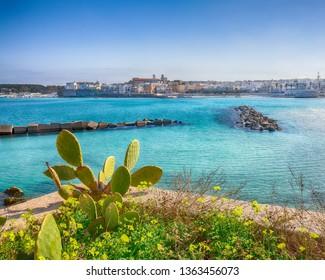 Otranto - coastal town in Puglia with turquoise sea. Italian vacation. Town Otranto, province of Lecce in the Salento peninsula, Puglia, Italy