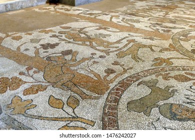 OTRANTO, ITALY - APR 8, 2019 - Biblical figures on the mosaic floor of the cathedral in Otranto, Puglia, Italy
