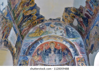 OTRANTO SALENTO, ITALY - MAY 4 -interior of the Byzantine medieval church of St. Peter 4 May 2018 Otranto Salento Italy