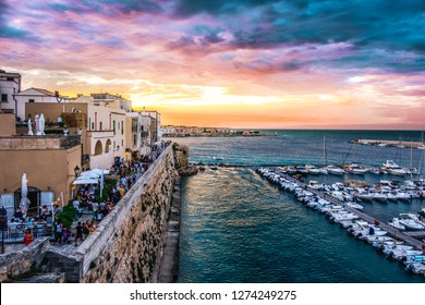 Otranto town in Salento Apulia night Puglia italy - background of south italy village town sunset