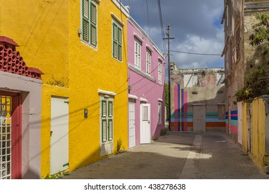 Otrobanda district - empty buildings painted all colours -  Curacao views a small Caribbean Island in the Dutch Antilles