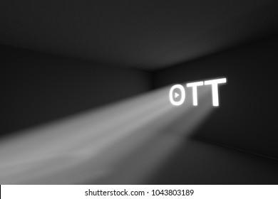 OTT rays volume light concept 3d illustration