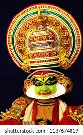 OTTAPALAM, KERALA / INDIA - JULY SUNDAY 2018 : Utharaswayamvaram kathakali