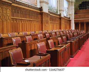 OTTAWA - AUGUST 2018: The Canadian Parliament Building is constructed with ornate gothic styling as seen in these interior details of the Senate chamber.