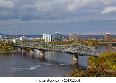 OTTAWA, CANADA - 11TH OCTOBER 2014:  A view of Alexandra Bridge during the day in the fall