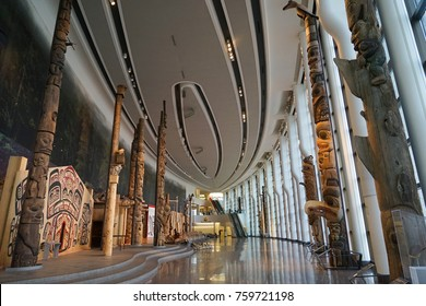 OTTAWA, CANADA - 17 NOVEMBER 2017. Interior exhibits of the Canadian Museum of History, Canada's national museum of human history.