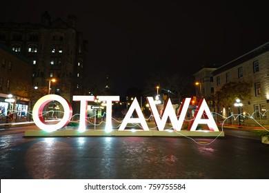 OTTAWA, CANADA - 17 NOVEMBER 2017. Gaint OTTAWA Sign placed near Byward Market for tourists