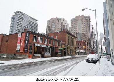 OTTAWA, CANADA - 19 NOVEMBER 2017. Downtown Ottawa Streets After First Snow Of Winter