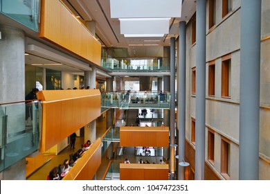 OTTAWA, CANADA -8 MAR 2018- Interior view of the Social Science building on the campus of the University of Ottawa near University Square in Ottawa, the capital of Canada.