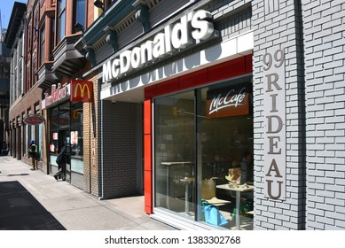 Ottawa, Canada - Apr 28, 2019: McDonald's on Rideau St in downtown has long been notorious for a high number of incidents that caused the owner to no longer be open 24 hours after letter from  police