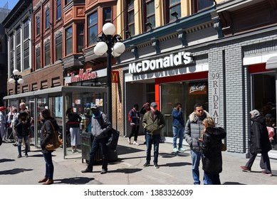 Ottawa, Canada - Apr 28, 2019: McDonald's on Rideau St in downtown has long been notorious for a high number of incidents that caused the owner to no longer be open 24 hours after letter from police.