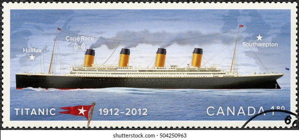 OTTAWA, CANADA - APRIL 05, 2008: A stamp printed in Canada shows shows Titanic, White Star Line, Titanic Centenary 1912-2012