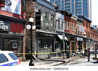 Ottawa, Canada - April 13, 2019: William Street in the Byward Market still closed after Vittoria Trattoria caught on fire and spread to other heritage buildings the day before.
