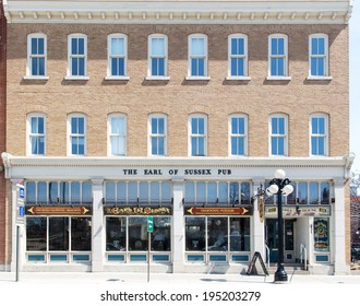 OTTAWA, CANADA - April 17, 2014: The Earl of Sussex pub. The pub has been operating since 1980 in Sussex Drive where much of the streets confederation era heritage buildings are preserved.