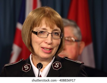 OTTAWA, CANADA APRIL 19, 2016: Commissioner Susan McMillan, Territorial Commander of The Salvation Army, speaks out against euthanasia and physician-assisted suicide at a news conference.