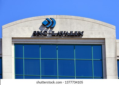Ottawa, Canada - April 22, 2019:  SNC Lavalin a Quebec based engineering, and construction company that is currently involved in a scandal that has hurt Canadian PM Justin Trudeau in the polls.