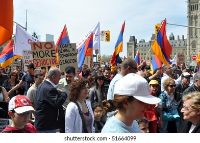 OTTAWA, CANADA - APRIL 24: Armenians across the world gather together to commemorate the Armenian Genocide of 1915.  This demonstration took place April 24, 2010 in Ottawa, Ontario.