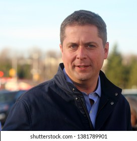 OTTAWA, CANADA - APRIL 26, 2019: Andrew Scheer, leader of Canada's Conservative Party and leader of the Official Opposition, campaigns in a park in advance of the federal election October 21.