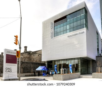Ottawa, Canada - April 28, 2018: The new $38 million dollar state of the art Ottawa Art Gallery on the MacKenzie King Bridge has its grand opening this weekend.  Admission is free to the public.