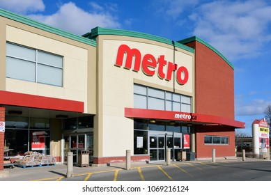 Ottawa, Canada - April 8, 2018: Metro Grocery store on Merivale Road.  Metro is Canadaâ??s third largest grocer and is headquartered in Montreal, Quebec.
