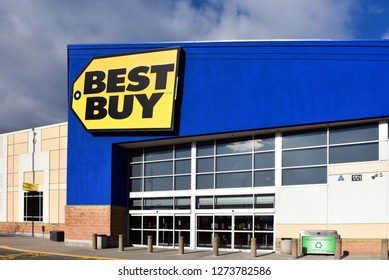 Ottawa, Canada - April 8, 2018: Best Buy, the US based multinational consumer electronics and technology retailer, store on Merivale Road.