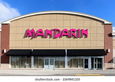 Ottawa, Canada - April 9, 2018:  Canadian restaurant chain Mandarin on W Hunt Club Rd.  It offers all you can eat Chinese and international cuisine and is headquartered in Brampton, Ontario.