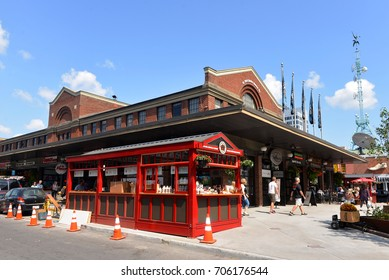 OTTAWA, CANADA - AUG 29 2017: Two year round stands were added on each side of the main Byward Market building, including this Maple Country Sugar Bush vendor chosen by BeaverTails pastry founder.