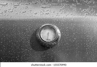 OTTAWA, CANADA - AUGUST 13: The temperature gauge on the lid of a Weber Genesis barbecue on August 13, 2013 in Ottawa, Ontario.
