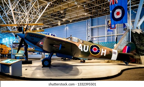 Ottawa, Canada - August 22 2017: Royal Canadian Air Force NH188 Spitfire IX at the Canada Aviation and Space Museum