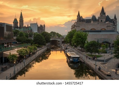Ottawa, Canada, beautiful sunset with a view at the Rideau canal