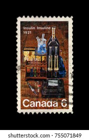 OTTAWA, CANADA - CIRCA 1971: Postage stamp printed in Canada shows the discovery of the medical substance insulin in 1921, circa 1971.