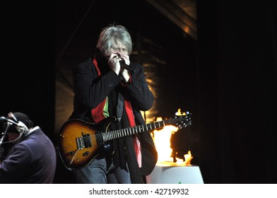 OTTAWA, CANADA - DECEMBER 12: Tom Cochrane performs at the Olympic Torch Relay ceremony in preparation for the 2010 Winter Olympics.  Ottawa, December 12, 2009.