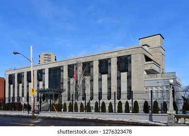 Ottawa, Canada - December 15, 2018:  The Russian Embassy on Charlotte Street.  The site was given to the Soviet Union in 1942.