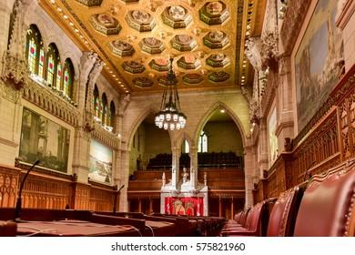 Ottawa, Canada - December 26, 2016: The Senate of Parliament Building, Ottawa, Canada