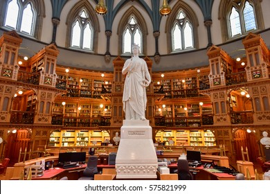 Ottawa, Canada - December 26, 2016: Queen Victoria in the Main Reading Room of the Library of Parliament on Parliament Hill in Ottawa, Ontario.