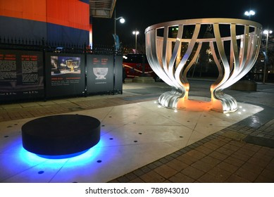 Ottawa, Canada - December 7, 2017:  Monument to the Stanley Cup on the pedestrian street Sparks St was unveiled in October to commemorate the 125th anniversary of the trophy .