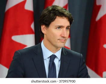 OTTAWA, CANADA - FEB 8, 2016: Prime Minister Justin Trudeau announces all Canadian airstrikes against the Islamic State in Iraq and Syria (ISIS) will cease by Feb. 22, 2016.