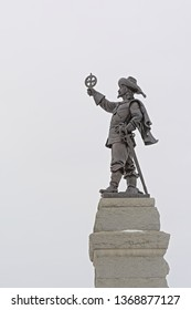 OTTAWA, CANADA, FEBRRUARY 20, 2019, Bronze statue of the famous French explorer Samuel de Champlain, holding his astrolabe upside-dow, by Hamilton MacCarthy, on Nepan pont hill in Ottawa, 20 February