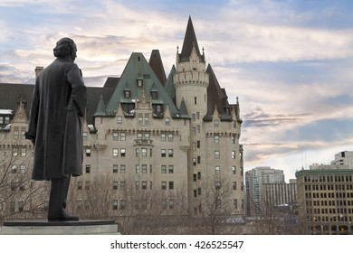 Ottawa, Canada - February 05, 2016: View of Fairmont Chateau Laurier from the Parliament Hill, Ottawa, Canada. This castle is named for Sir Wilfred Laurier, the former Prime Minister of Canada.