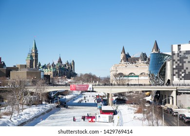 Ottawa, Canada - February 5, 2018: View of central Ottawa on a snowy winter day.