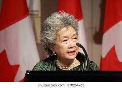 OTTAWA, CANADA - JAN. 27, 2016: Former governor general Adrienne Clarkson pays tribute to former public servant Maurice Strong, who died last November.