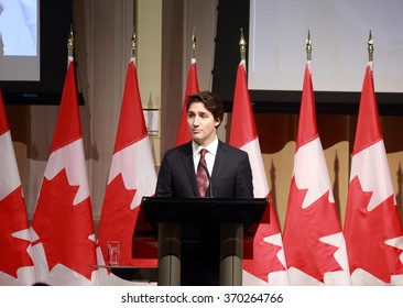 OTTAWA, CANADA - JAN. 27, 2016: Prime Minister Justin Trudeau was among Canadian and international political elite paying tribute to public servant Maurice Strong, who died last November.