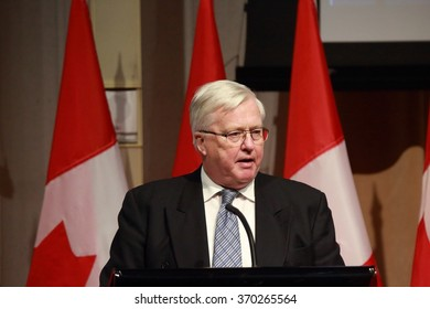 OTTAWA, CANADA - JAN. 27, 2016: Martin Lees, former secretary general of the global think tank Club of Rome, pays tribute to former public servant Maurice Strong, who died last November.
