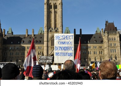 OTTAWA, CANADA - JANUARY 23: Canadian citizens gather to protest PM Harper's decision to prorogue Parliament January 23, 2010 in Ottawa.